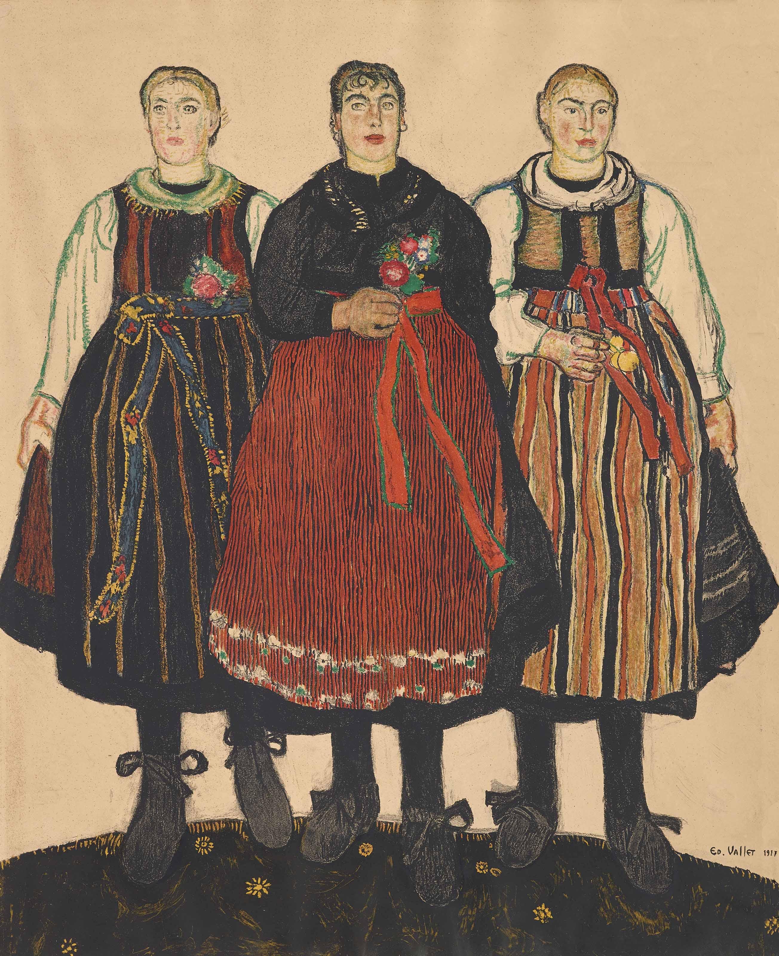 Trois Valaisannes (Figurengruppe Jour de fête), 1917