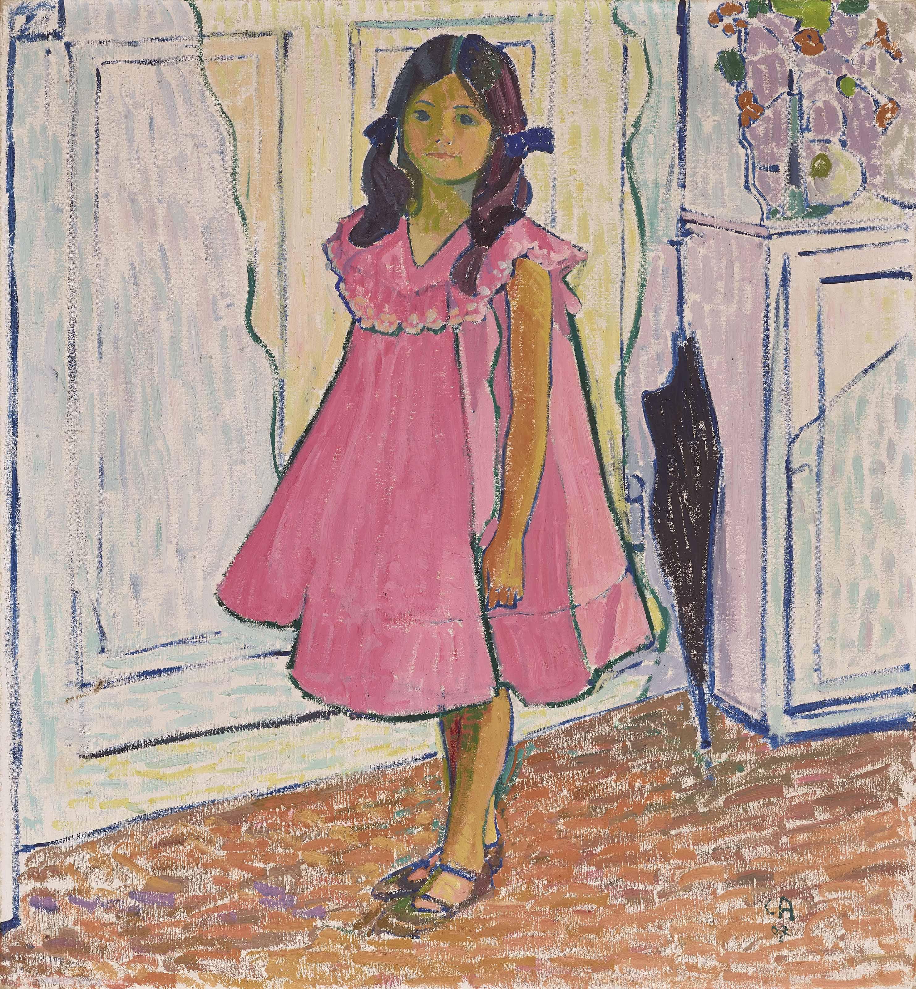Greti in rotem Kleid, 1907
