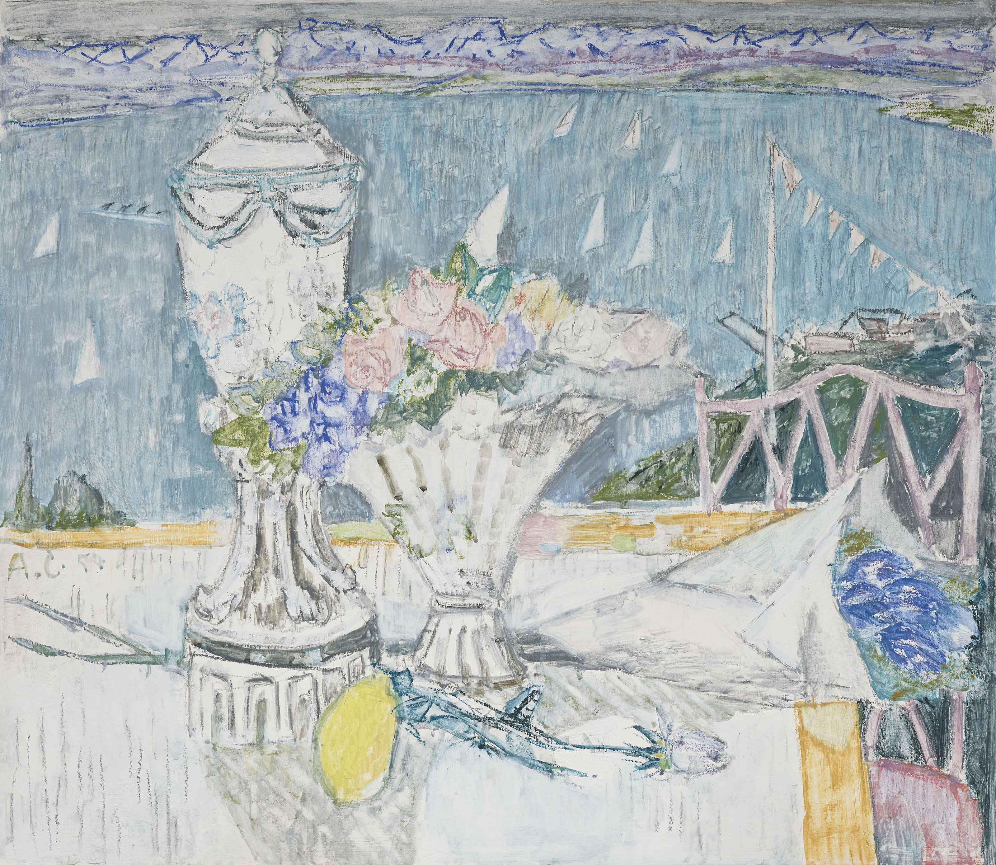 Stillleben mit Pokal und Blumenvase vor Ausblick auf den Zürichsee, 1954