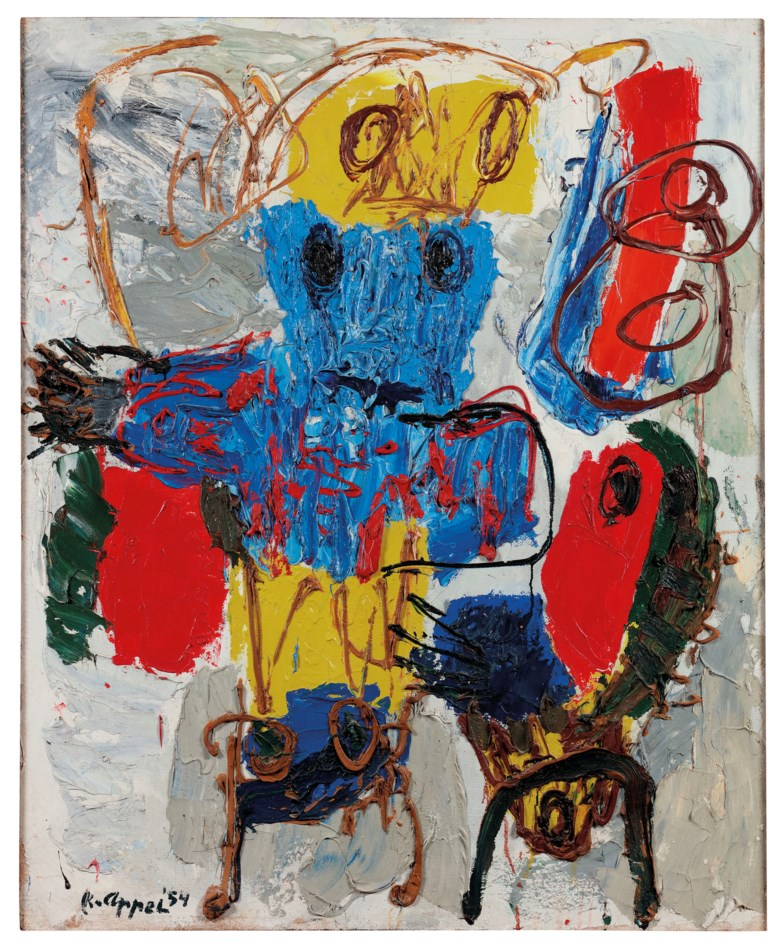 Karel Appel (1921-2006), Composition, 1954. 133 x 110 cm. Estimate €100,000-150,000. This lot is offered in Post-War and Contemporary Art on 23-24 April at Christie's in Amsterdam