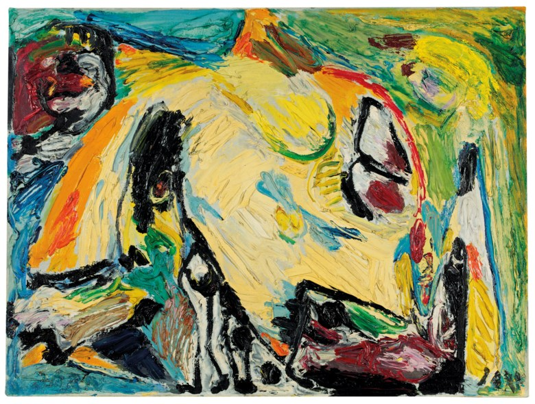 Asger Jorn (1914-1973), Hungriger Vogel (Hungry Bird), 1957. Oil on canvas 60.5 x 80.5 cm. Estimate €100,000-150,000. This lot is offered in Post-War and Contemporary Art on 23-24 April at Christie's in Amsterdam