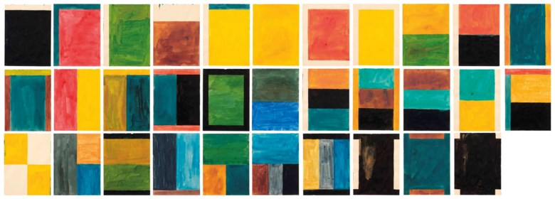 Günther Förg (1952-2013), 32 Bilder (32 Paintings), executed in 1986. Each 31.5 x 23.5 cm. Estimate €150,000-200,000. This lot is offered in Post-War and Contemporary Art on 23-24 April 2018  at Christie's in Amsterdam