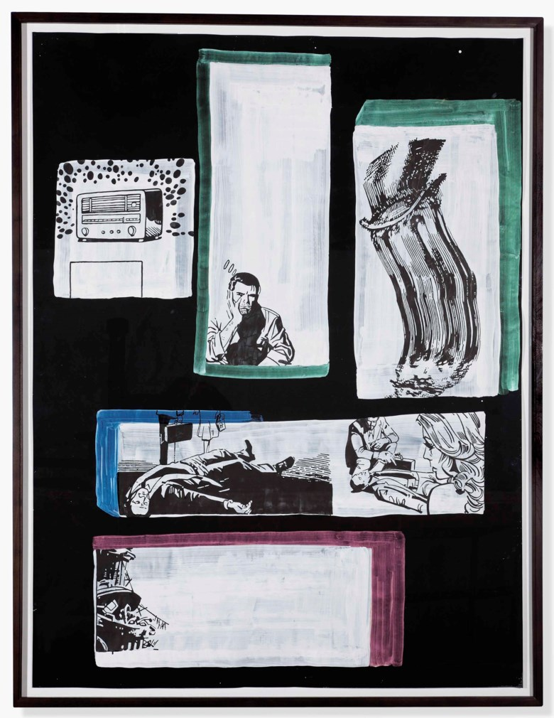 Sigmar Polke (1941-2010), Untitled (Comics), executed in 2002. 198.5 x 149.5 cm. Estimate €280,000-350,000. This lot is offered in Post-War and Contemporary Art on 23-24 April 2018  at Christie's in Amsterdam