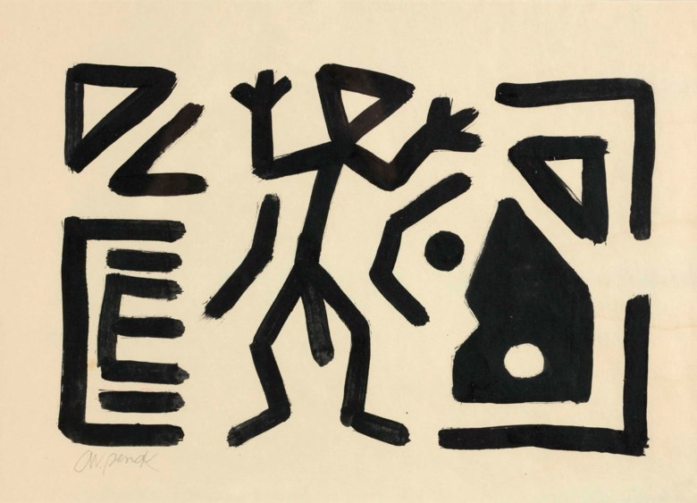 A. R. Penck (1939-2017), Untitled, executed circa 1982-1986. 31.5 x 44.5 cm. Estimate €2,500-3,500. This lot is offered in Post-War and Contemporary Art on 23-24 April 2018  at Christie's in Amsterdam