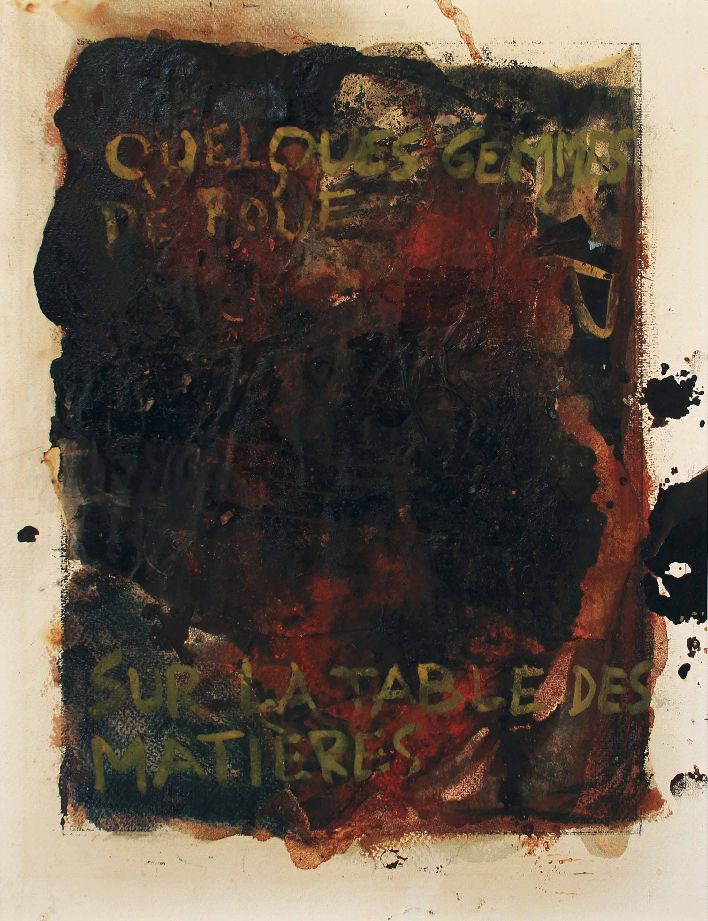 Quelques gemmes de boue sur la table des matières (Some gems of mud on the table of contents)