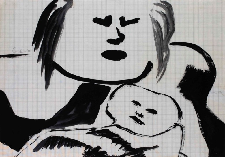 Constant (1920-2005), Moeder en kind III (Mother and Child III), 1952. Ink on graph paper 61 x 88 cm. Estimate €5,000-7,000. This lot is offered in Post-War and Contemporary Art on 23-24 April at Christie's in Amsterdam