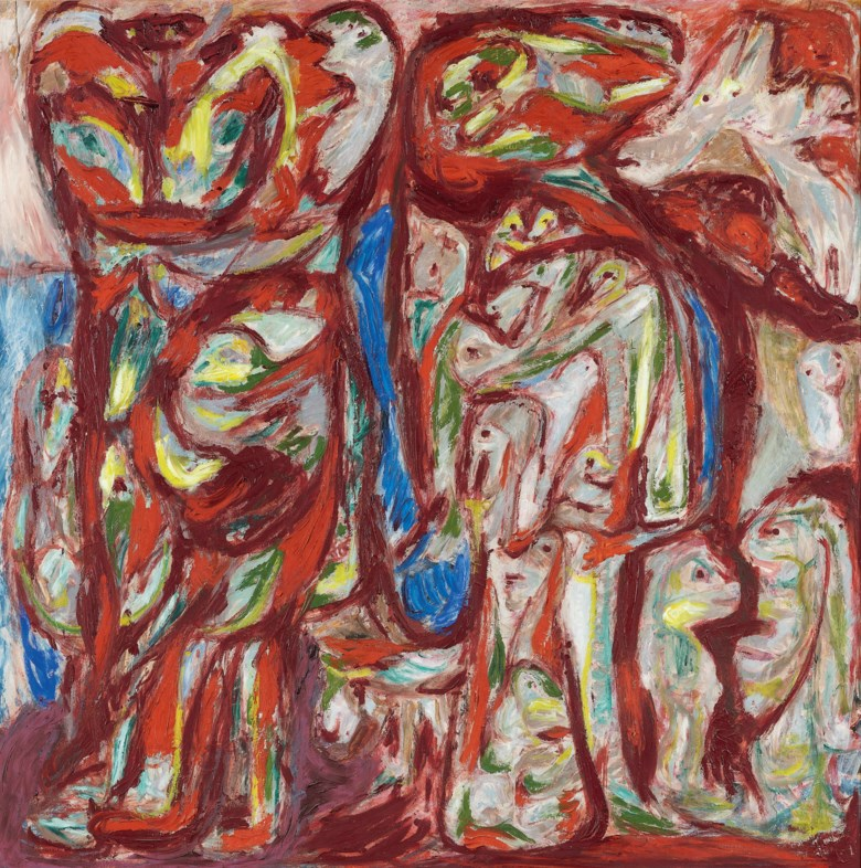 Asger Jorn (1914-1973), Myr og Mo (Myra and Mo ), painted in 1950-1952. 122 x 122 cm. Estimate €200,000-300,000. This lot is offered in Post-War & Contemporary Art on 26-27 November 2018 at Christie's in Amsterdam