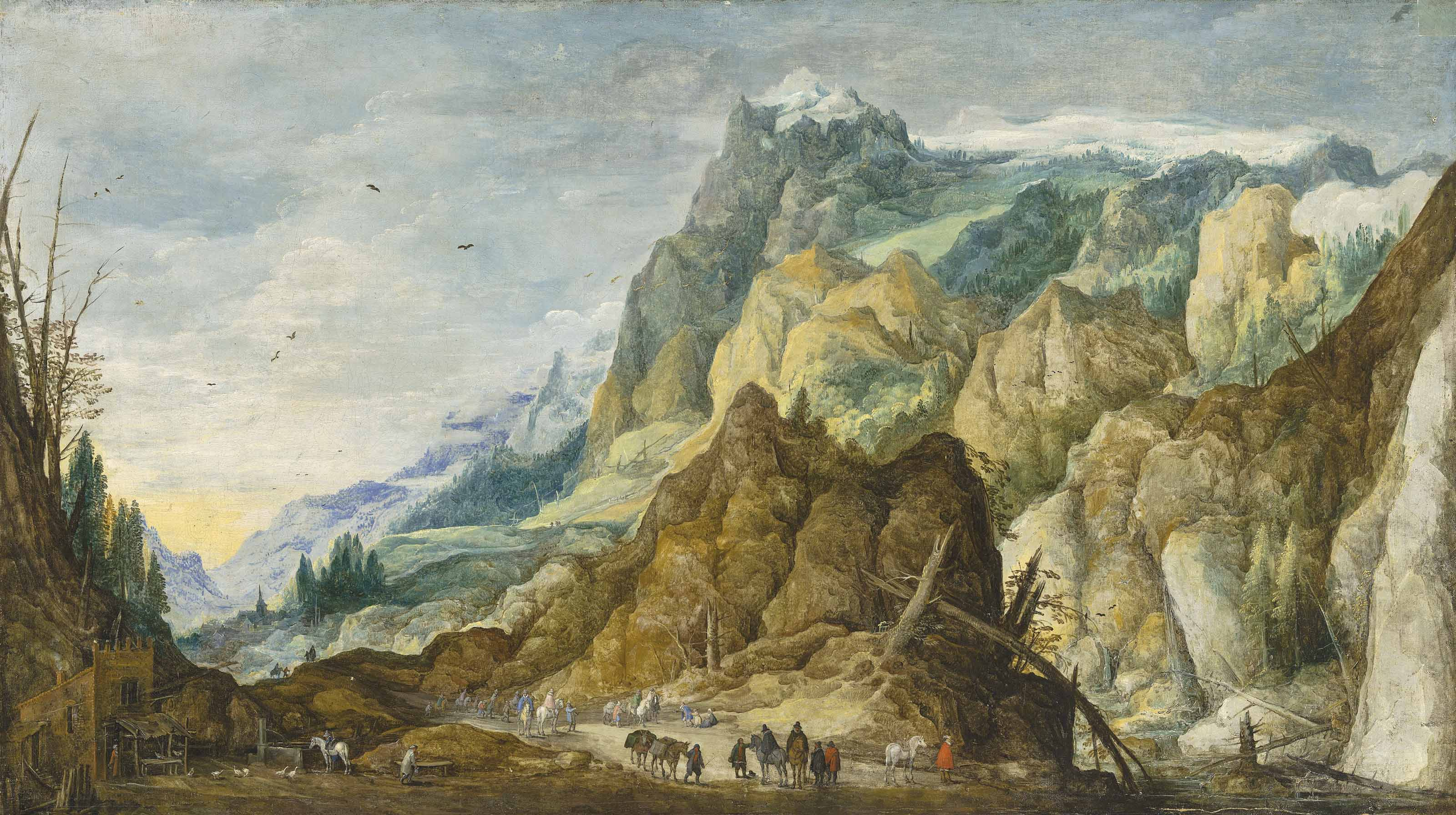 An extensive mountainous landscape with travellers