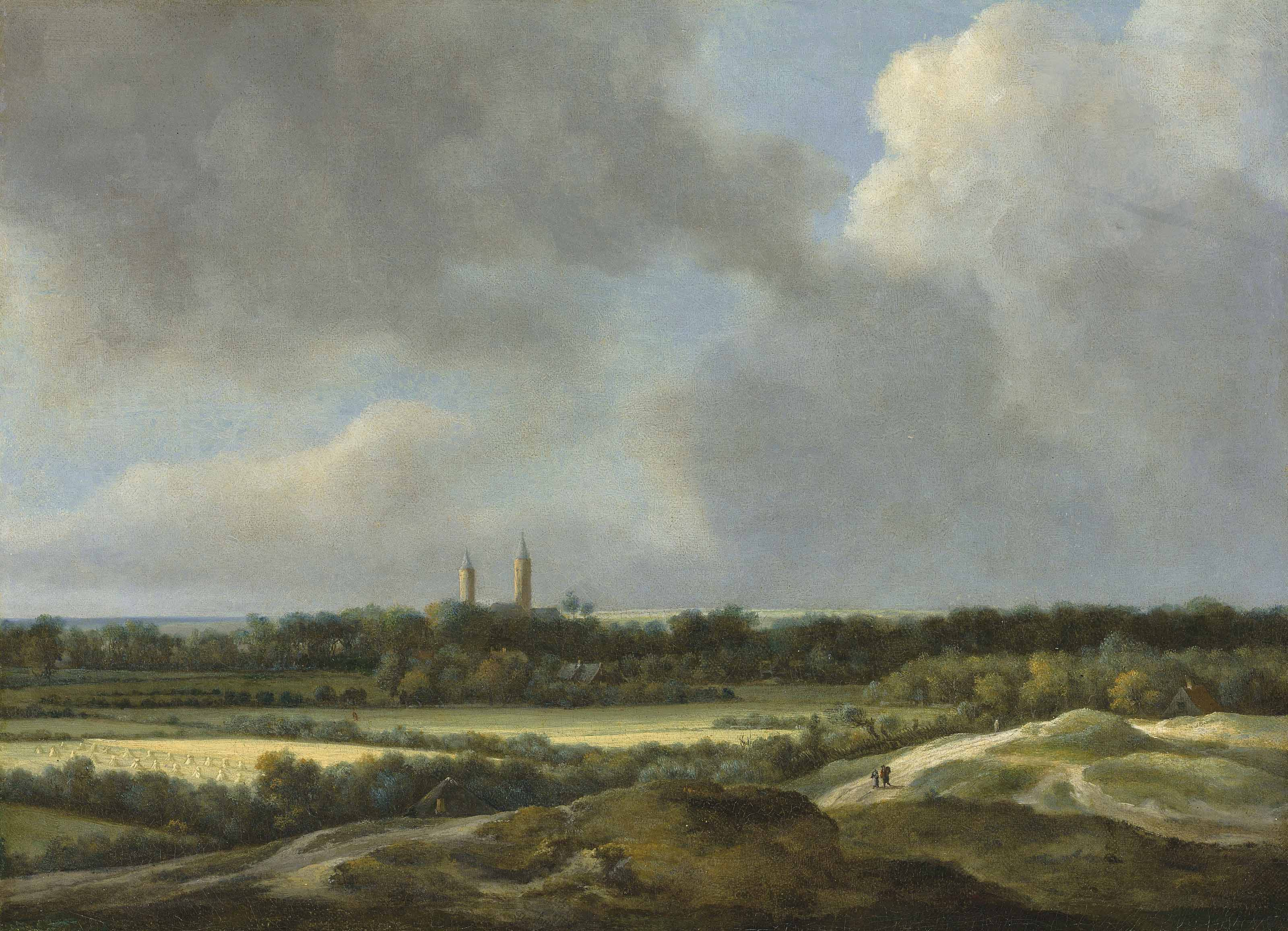 An extensive landscape with grain fields, Heemstede beyond