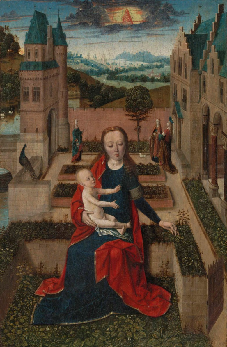 The Master of the Tiburtine Sibyl (active Leuven and Haarlem, c. 1470-1490), The Virgin and Child in a Walled Garden. Oil on panel. 14 x 9¼  in (35.6 x 23.5  cm), with an addition of approximately ¼  in along the right edge. Sold for £668,750 on 5 July 2018 at Christie's in London