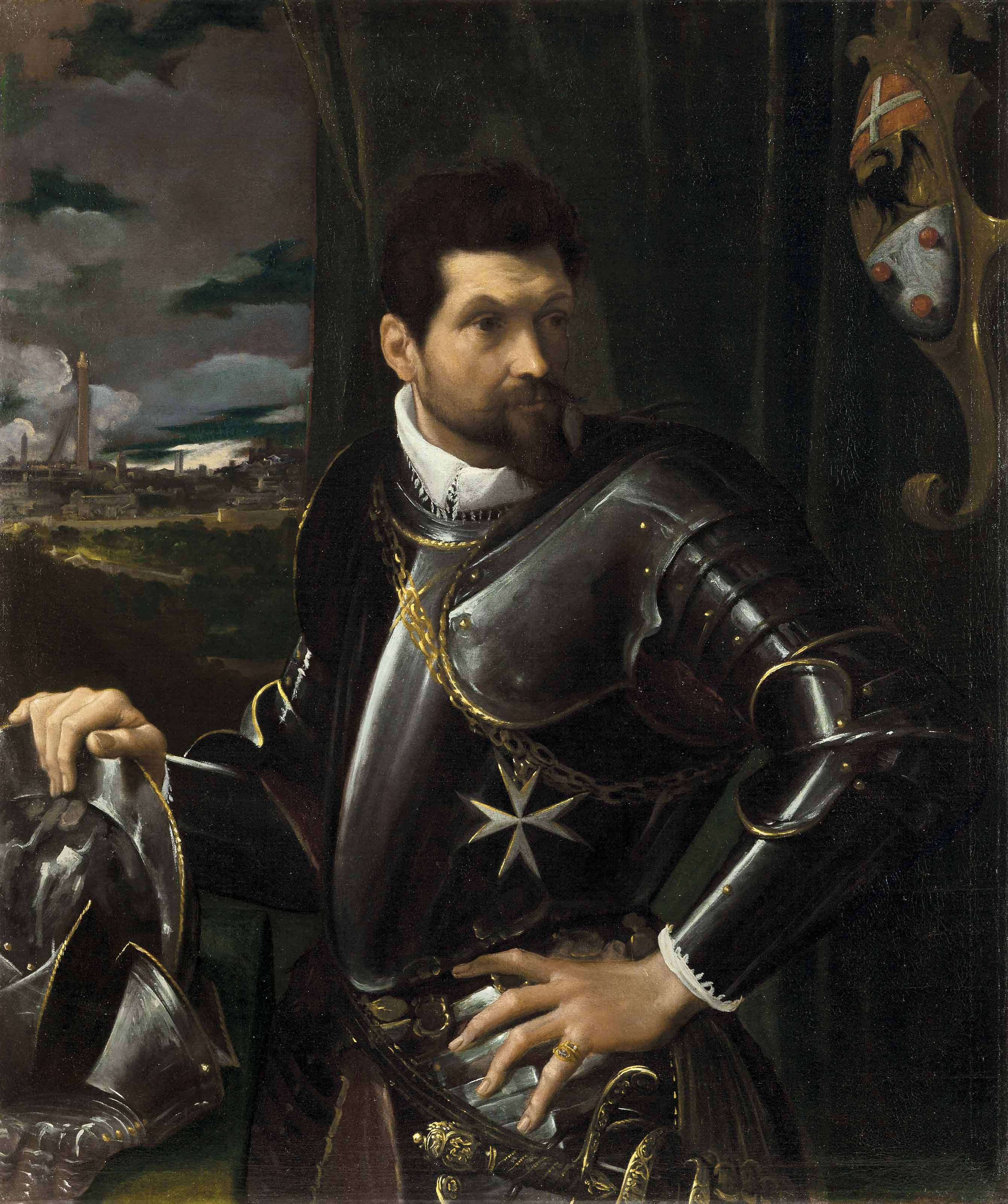 Portrait of Carlo Alberto Rati Opizzoni in armour, three-quarter-length, wearing the Order of the Knights of Malta, the city of Bologna beyond