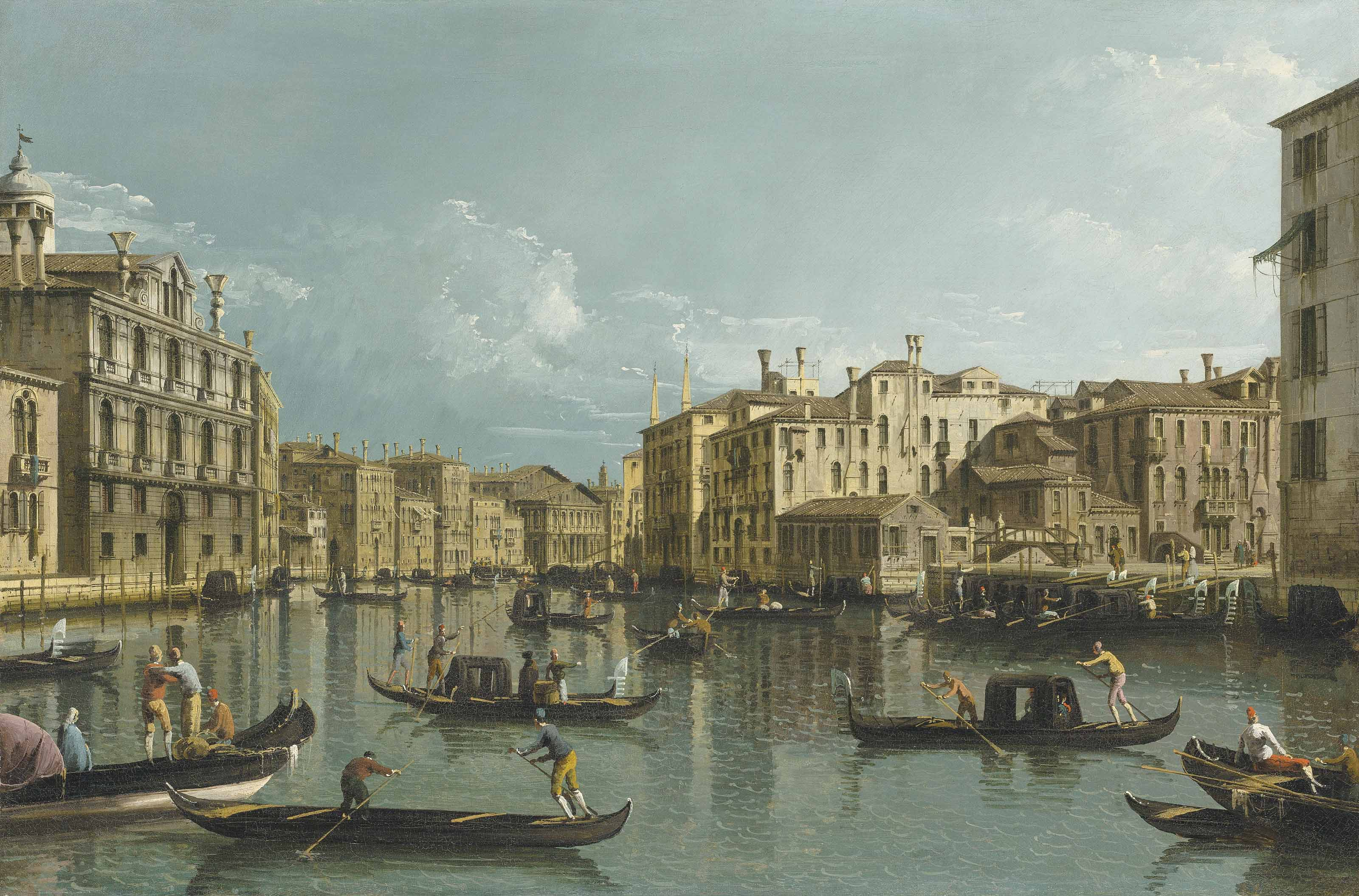 The Grand Canal, Venice, looking North from the Palazzo Contarini dagli Scrigni to the Palazzo Rezzonico