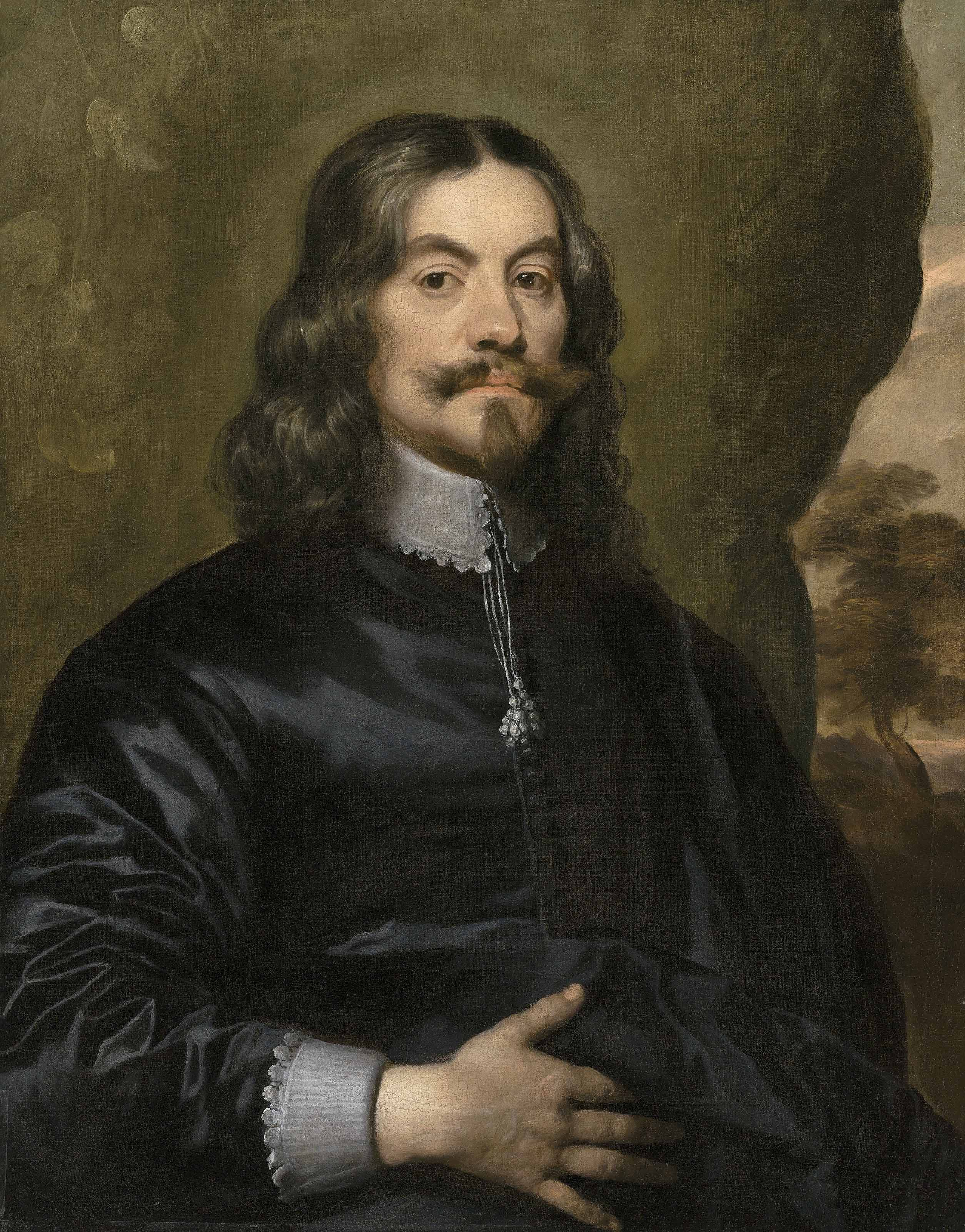 Portrait of a gentleman, traditionally identified as Lucius Cary, 2nd Viscount Falkland (c. 1610-1643), half-length, in black