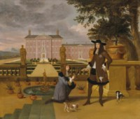 King Charles II being presented with a pineapple by the Royal Gardener, John Rose, in the formal gardens of an estate