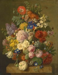 A Crown Imperial, roses, hyacinths, an iris and other flowers in a terracotta vase with a bird's nest on a plinth