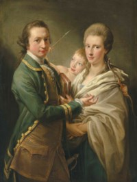 Group portrait of the Hon. Arthur Saunders Gore, Viscount Sudley, later 2nd Earl of Arran (1734-1809), and his wife Catherine, née Annesley (1739-1770), with their son (?), Arthur Saunders Gore, later 3rd Earl of Arran (1761-1837), as Cupid, three-quarter-length