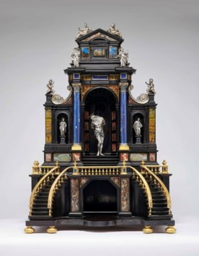 A SILVER, GILT-BRONZE, EBONY AND PAINTED HARDSTONE ARCHITECT