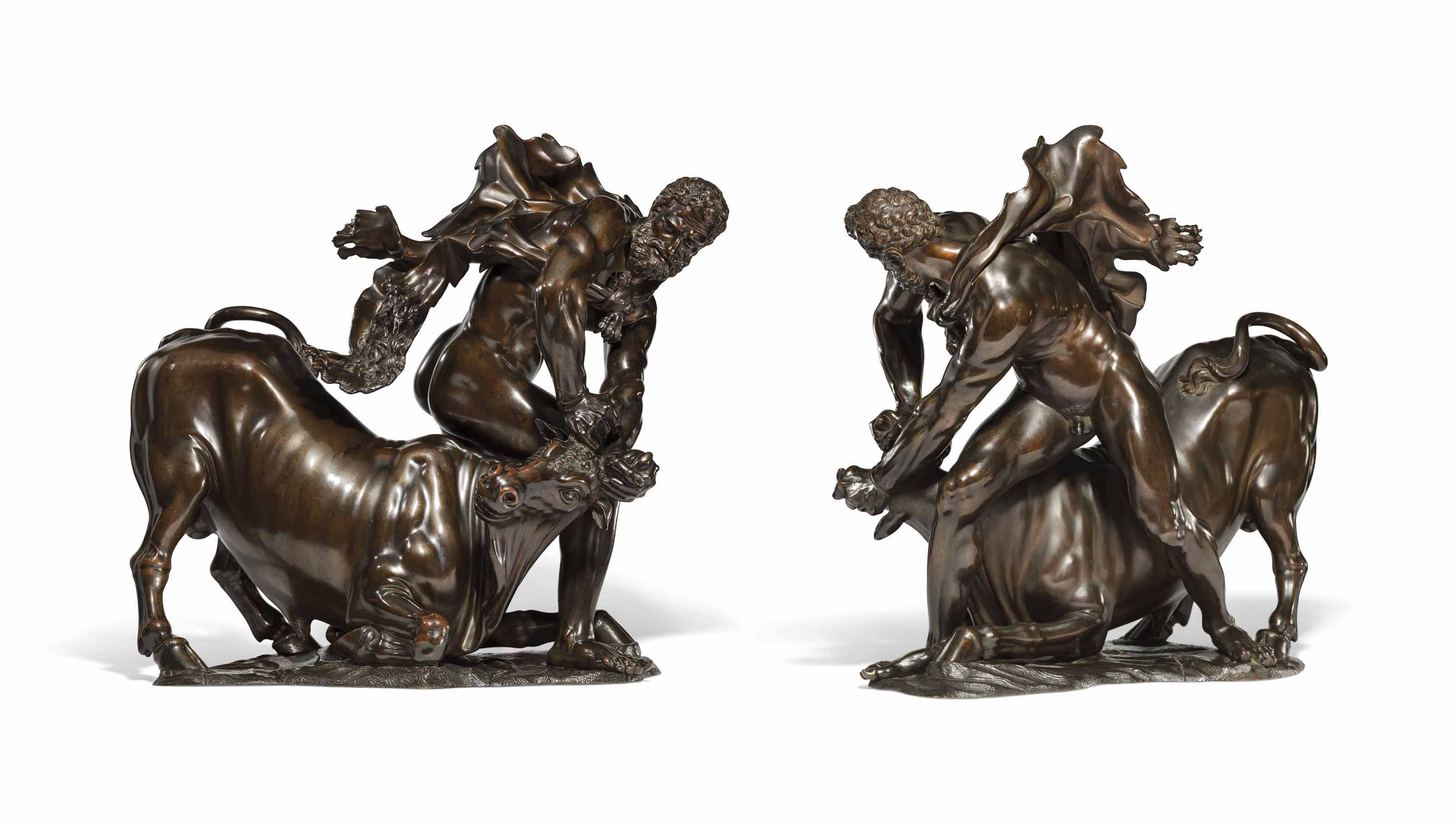 A BRONZE GROUP OF HERCULES OVERCOMING ACHELOUS