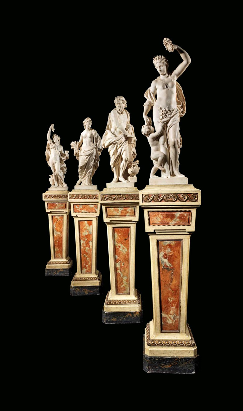 A set of four allegorical marble figures representing the four seasons, Pierre Mazeline (1632-1708), Paris, circa 1690. Spring 34⅛  in (86.5  cm) high; Summer 31  in (78.8  cm) high; Autumn 35 in (89  cm) high; Winter 30¼  in (77  cm high). Estimate £700,000-1,000,000. Offered in The Exceptional Sale 2018 on 5 July 2018 at Christie's in London