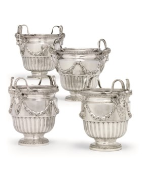 A SET OF FOUR GERMAN SILVER WINE-COOLERS FROM CATHERINE THE