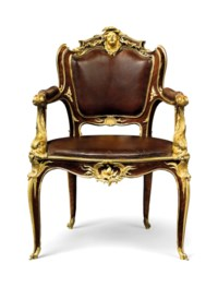 A FRENCH ORMOLU-MOUNTED KINGWOOD FAUTEUIL DE BUREAU