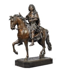 A BRONZE GROUP OF LOUIS XIV ON
