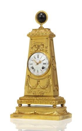 A LATE LOUIS XV ORMOLU OBELISK MANTEL CLOCK WITH NIGHT AND D