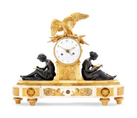 A LATE LOUIS XVI ORMOLU, PATINATED-BRONZE AND WHITE MARBLE M
