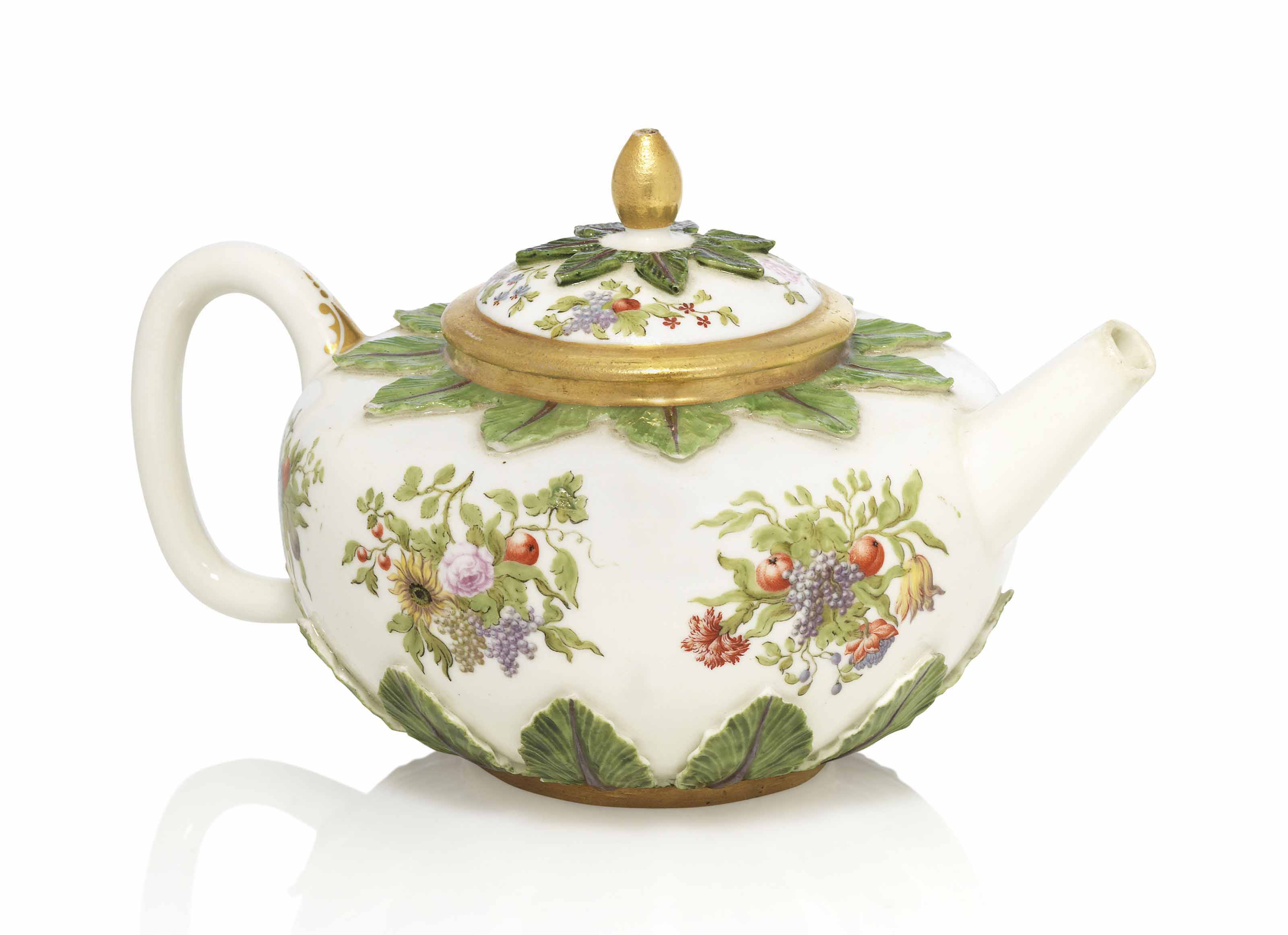 A BÖTTGER PORCELAIN HAUSMALEREI TEAPOT AND COVER