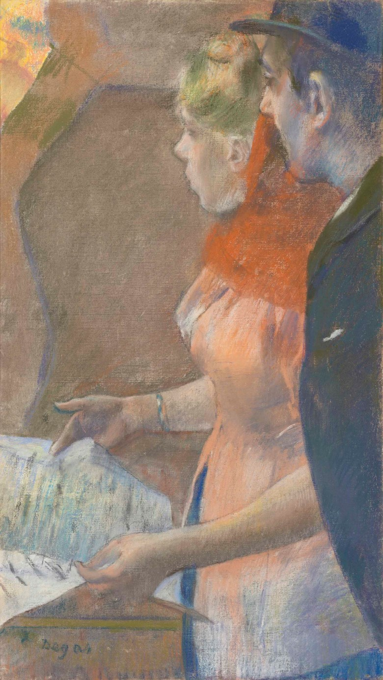 Edgar Degas (1834-1917), Dans les coulisses, executed circa 1882-1885. 26¼ x 14¾  in (66.7 x 37.5  cm). Sold for £8,993,750 in the Impressionist and Modern Art Evening Sale  on 27 February 2018  at Christie's in London