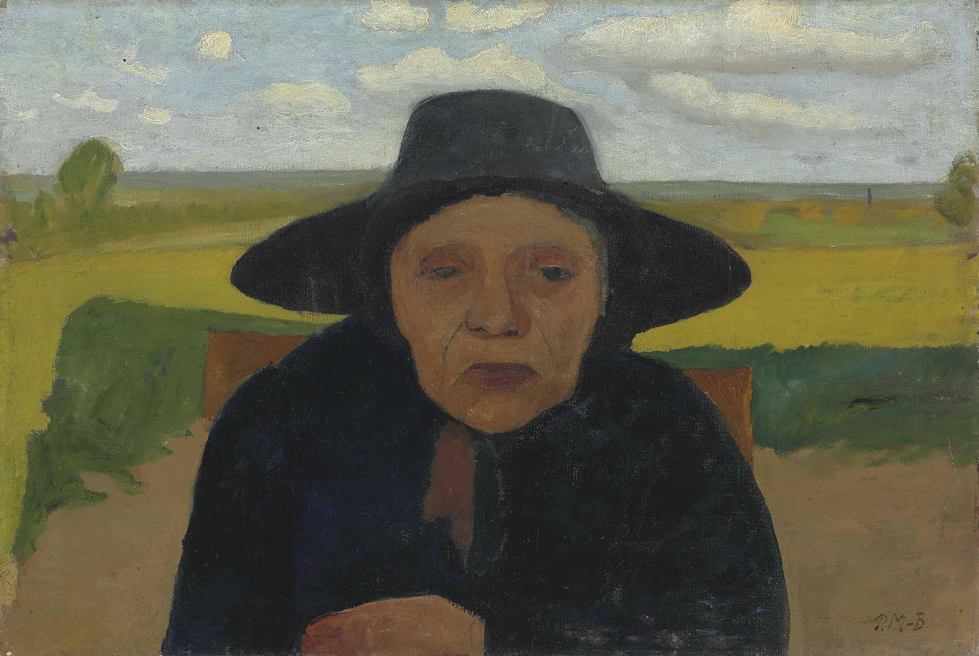 Brustbild einer alten Bäuerin mit Hut vor Landschaft