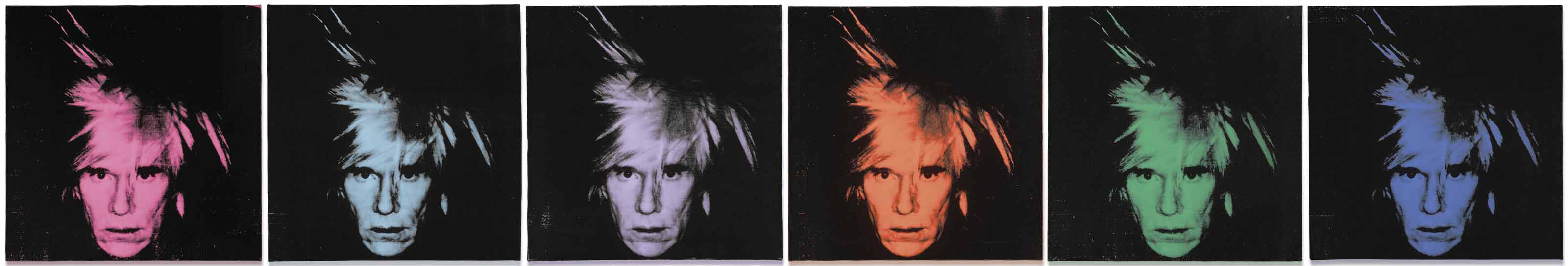 Andy Warhol (1928-1987), Six Self-Portraits, executed in 1986. Each 22 x 22 in (56 x 56 cm). Sold for £22,261,250 in the Post-War and Contemporary Art Evening Auction on 6 March 2018  at Christie's in London © 2018 The Andy Warhol Foundation for the Visual Arts, Inc.  Licensed by DACS, London