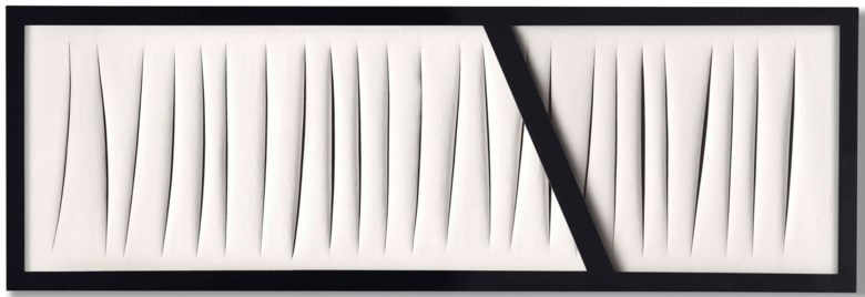 Lucio Fontana (1899-1968), Concetto spaziale, Attese, executed in 1965. 26¾ x 79¾ x 2⅛ in (68 x 202.5 x 5.5 cm). Sold for £8,671,250 in the Post-War and Contemporary Art Evening Auction on 6 March 2018  at Christie's in London © Lucio FontanaSIAEDACS, London 2018