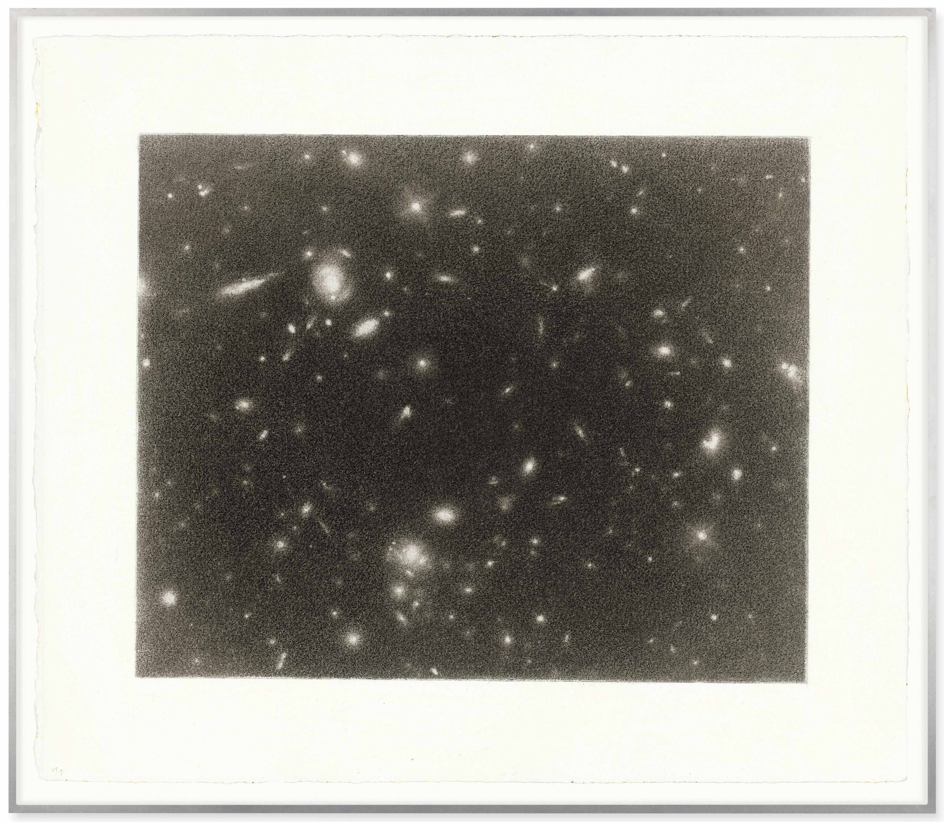 Vija Celmins (b. 1938), Hubble #3 , 1998. 15 x 17½ in (38 x 44.5 cm). Estimate £600,000-800,000. This lot is offered in the Post-War and Contemporary Art Evening Auction on 6 March 2018  at Christie's in London