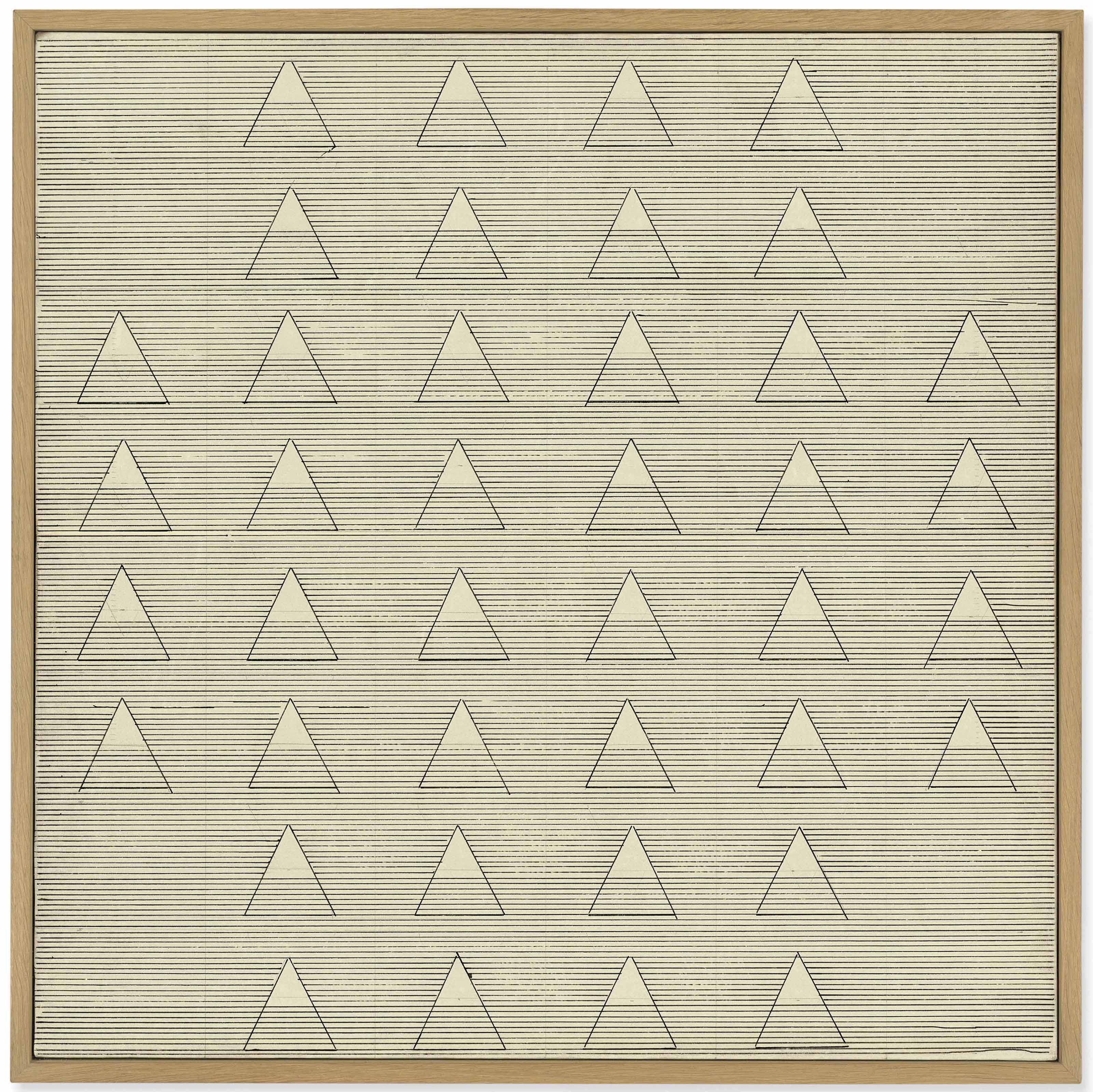 Agnes Martin (1912-2004), Words, 1961. 24 x 24 in (61 x 61 cm). Estimate £600,000-800,000. This lot is offered in Post-War and Contemporary Art Evening Auction on 6 March 2018  at Christie's in London