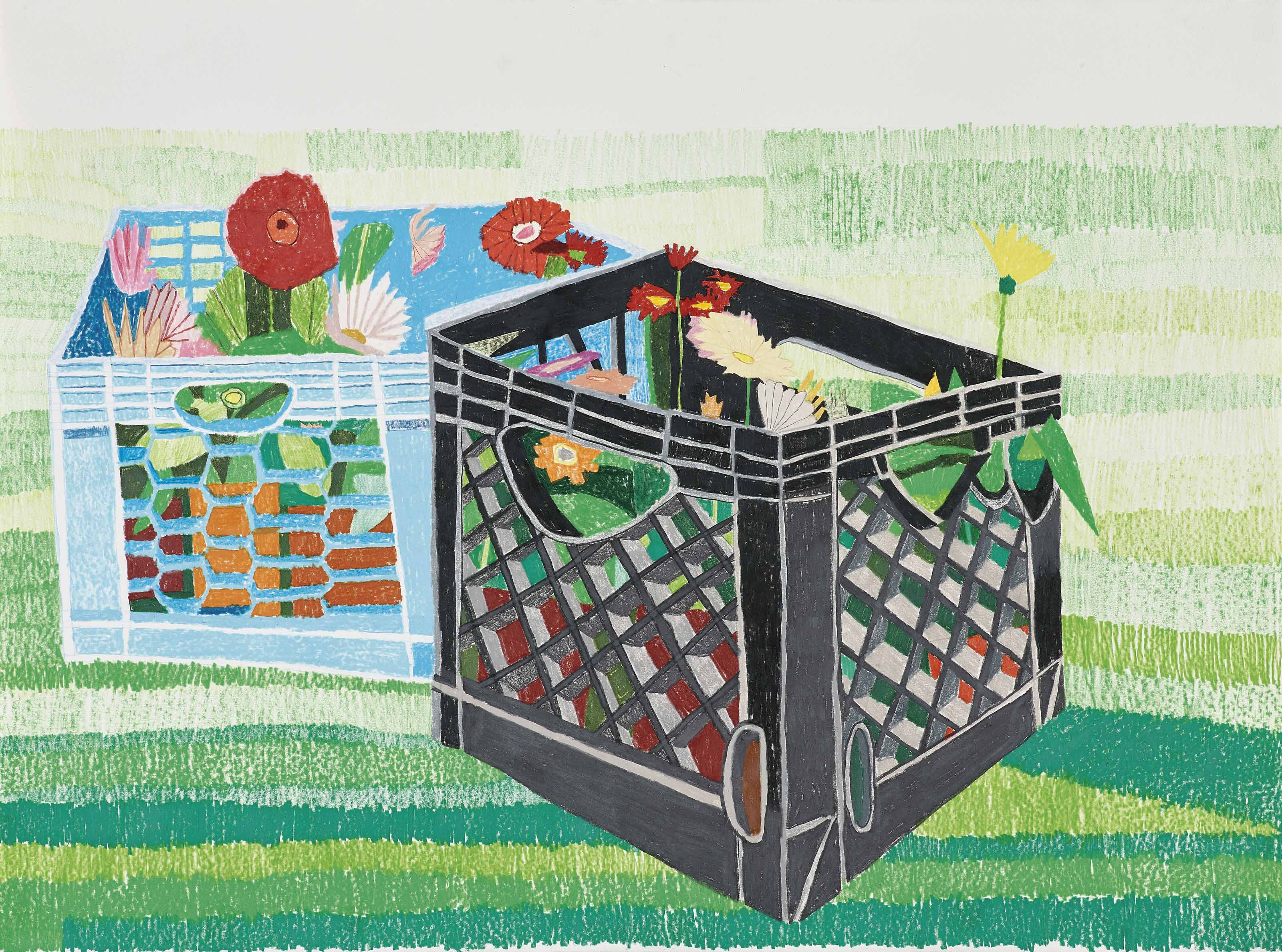 Jonas Wood (b. 1977), Day before Planting, 2007. 22 x 30 in (55.8 x 76.2 cm). Estimate £25,000-35,000. This lot is offered in the Post-War and Contemporary Art Day Auction on 7 March 2018  at Christie's in London