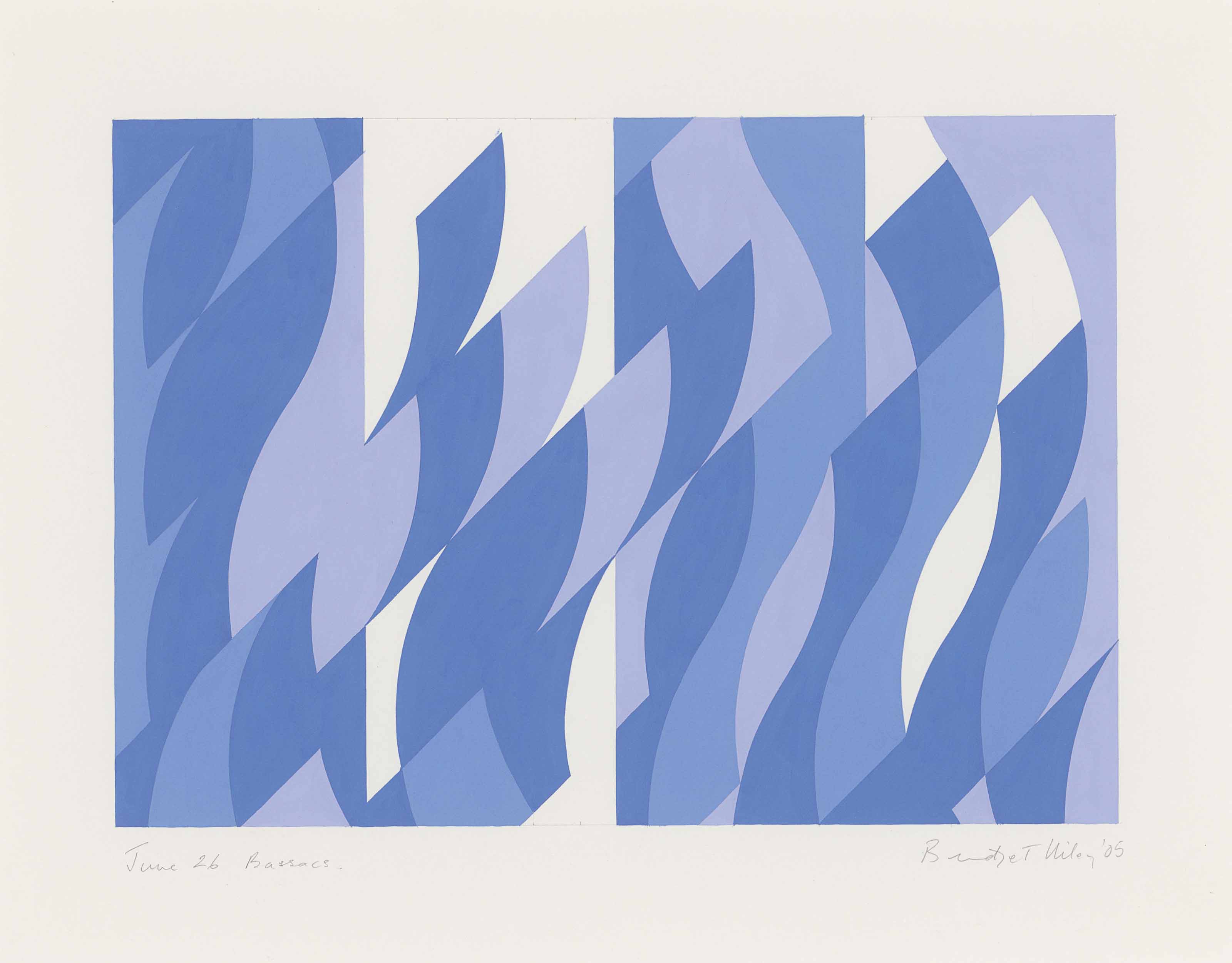 Bridget Riley (b. 1931), June 26 Bassacs, 2005. 17⅝ x 22⅜ in (44.6 x 57 cm). Estimate £20,000-30,000. This lot is offered in the Post-War and Contemporary Art Day Auction on 7 March 2018 at Christie's in London