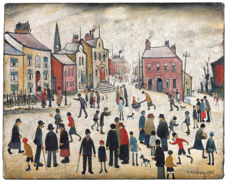 Laurence Stephen Lowry, R.A. (1887-1976), People Standing About. 16¼ x 20¼  in (41.2 x 51.5  cm). Estimate £700,000-1,000,000. Offered in Modern British Art Evening Sale on 19 June 2018 at Christie's in London