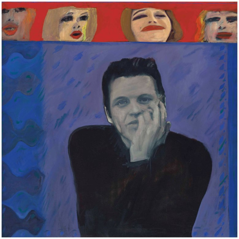 Pauline Boty (1938-1966), Portrait of Derek Marlowe with Unknown Ladies. 48 x 48  in (122 x 122  cm). Estimate £120,000-180,000. Offered in Modern British Art Evening Sale on 19 June 2018 at Christie's in London © The Estate of Pauline Boty