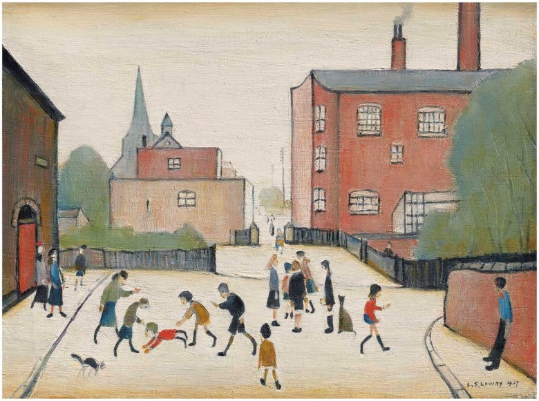 Laurence Stephen Lowry, R.A. (1887-1976), Children Playing, Old Road, Failsworth. 12 x 16  in (30.5 x 40.6  cm). Estimate £350,000-450,000. Offered in Modern British Art Evening Sale on 19 June 2018 at Christie's in London