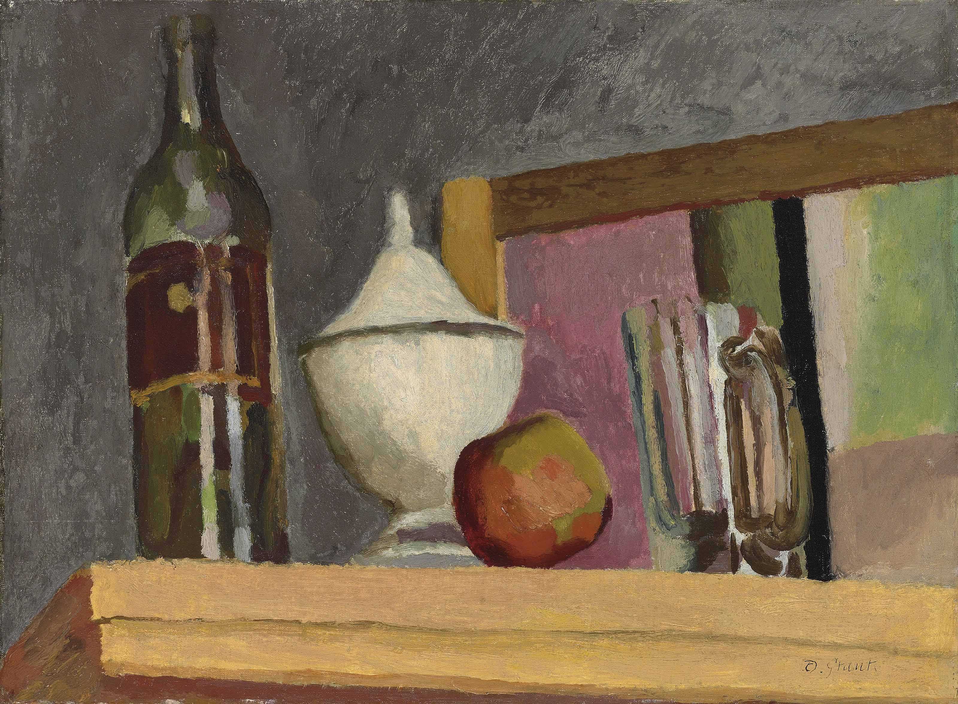 Still Life of Bottle, Apple and Jar
