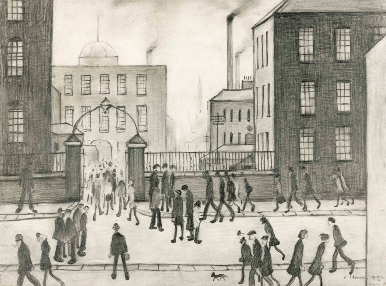 Laurence Stephen Lowry, R.A. (1887-1976), The Mill Gates. 10⅝ x 14½  in (27 x 37  cm). Estimate £80,000-120,000. Offered in Modern British Art Day Sale on 20 June 2018 at Christie's in London