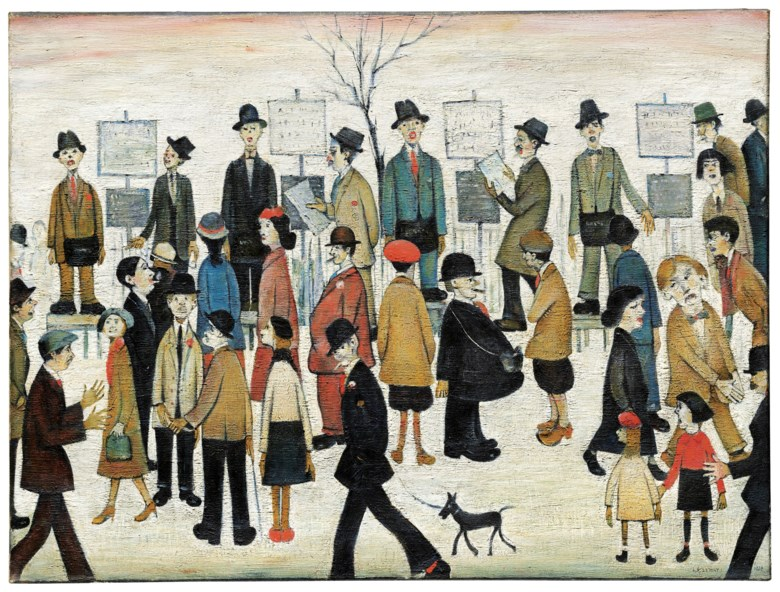 Laurence Stephen Lowry, R.A. (1887-1976), A Northern Race Meeting, 1956. 30 x 40 in (76.2 x 102 cm). Sold for £5,296,250 on 19 November 2018 at Christie's in London. Artwork © The Estate of L.S. Lowry. All Rights Reserved, DACS 2019