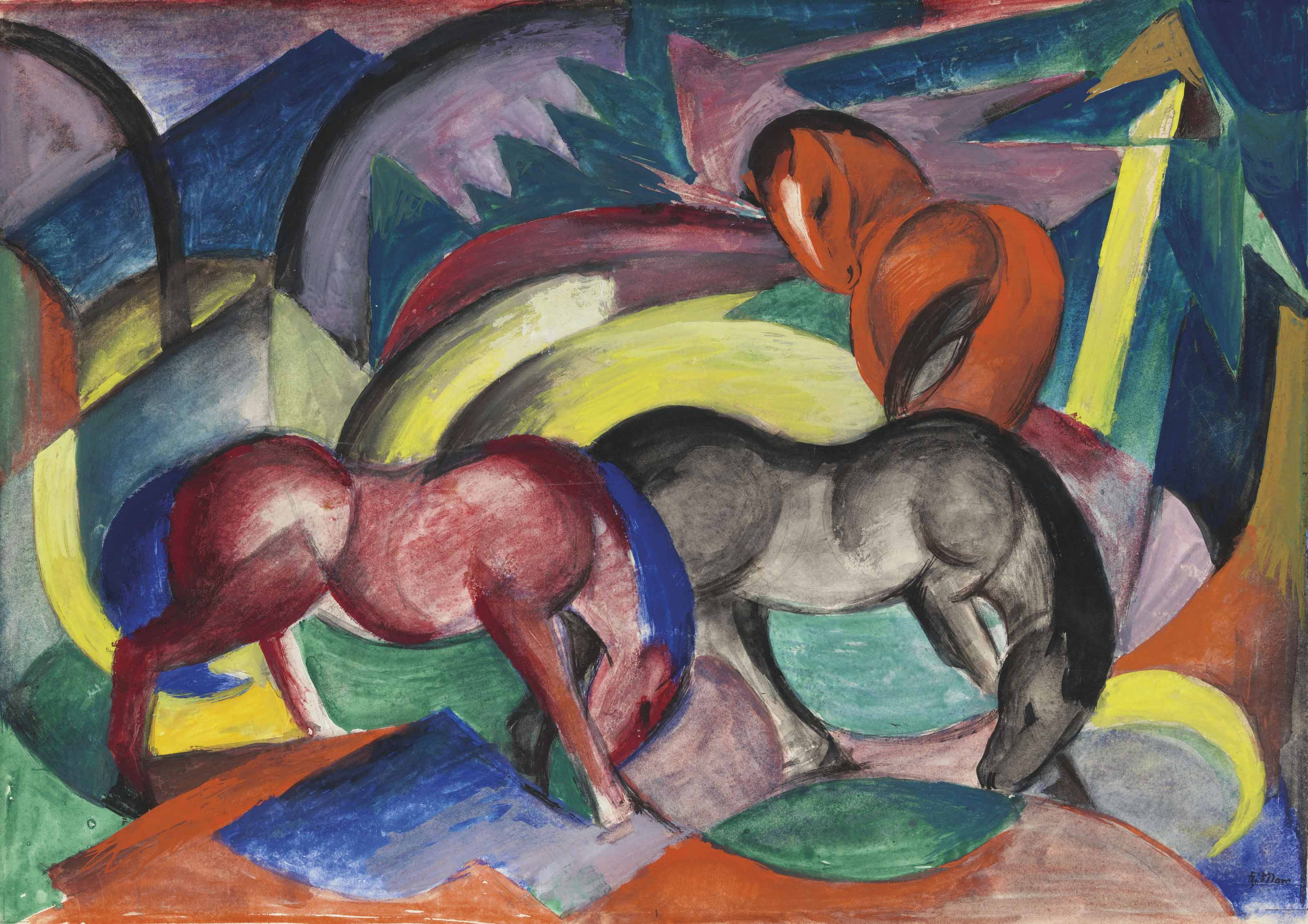 Franz Marc (1880-1916),Drei Pferde, 1912. 13¼ x 18¾  in (33.5 x 47.5  cm). Sold for £15,421,250 on 20 June 2018 at Christie's in London
