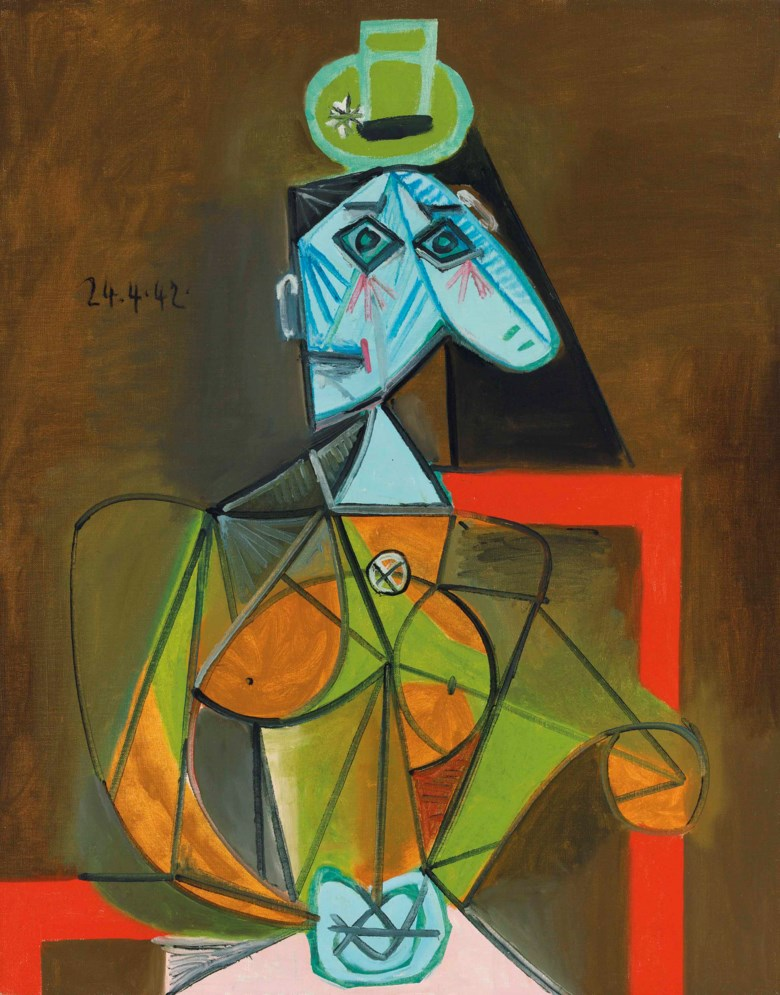 Pablo Picasso (1881-1973), Femme dans un fauteuil (Dora Maar), painted in Paris on 24 April 1942. 36 x 28¾ in (92 x 73 cm). Estimate on request. Impressionist and Modern Art Evening Sale on 20 June 2018 at Christie's in London © Succession Picasso  DACS, London 2018