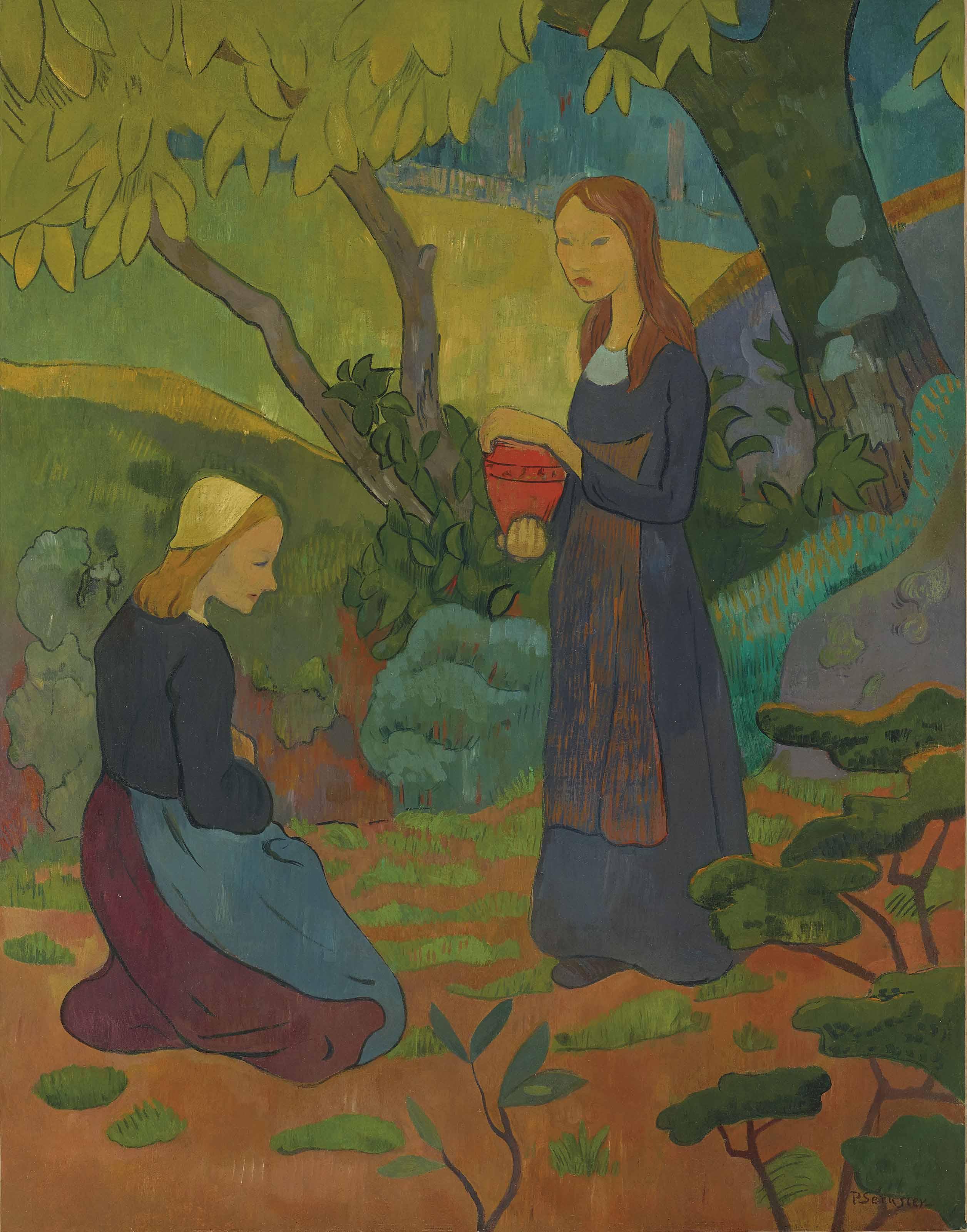 Jeune bretonne au pot vermillon et fillette agenouillée