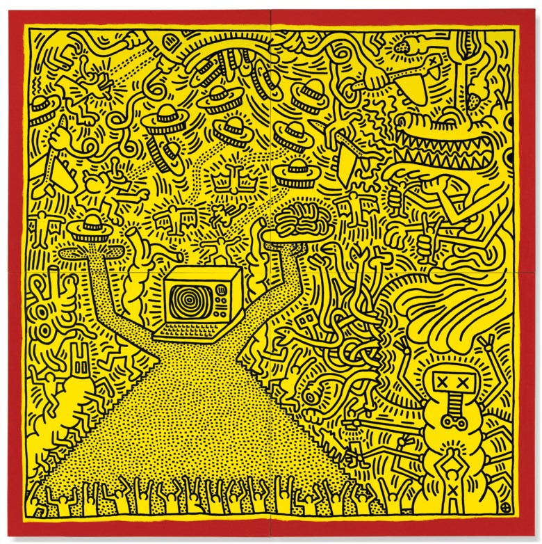 Keith Haring (1958-1990), Untitled, executed in April 1984. Overall 120 x 120 in (304.8 x 304.8 cm). Sold for £3,946,250 in the Post War and Contemporary Art Evening Auction on 4 October 2018 at Christie's in London