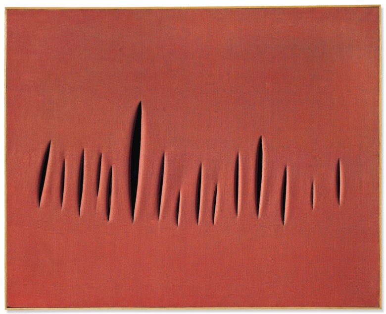 Lucio Fontana (1899-1968), Concetto spaziale, Attese, executed in 1959. 32 x 39⅞ in (81.5 x 101.2 cm). Estimate £1,200,000-1,800,000. This lot is offered in Post War and Contemporary Art Evening Auction on 4 October 2018 at Christie's in London