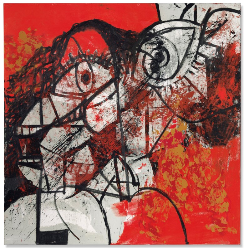 George Condo (b. 1957), Red and Black Diagonal Portrait, executed in 2016. 83 ⅞ x 82 ⅛ in (213 x 208.5 cm). Estimate £1,500,000-2,500,000. This lot is offered in Post War and Contemporary Art Evening Auction on 4 October 2018 at Christie's in London