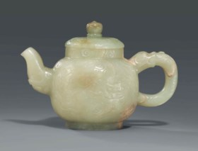 A PALE CELADON JADE TEAPOT AND COVER